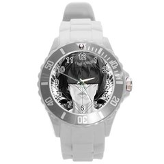 Beautiful Bnw Fractal Feathers For Major Motoko Round Plastic Sport Watch (l) by jayaprime