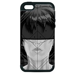 Beautiful Bnw Fractal Feathers For Major Motoko Apple Iphone 5 Hardshell Case (pc+silicone) by jayaprime