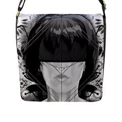 Beautiful Bnw Fractal Feathers For Major Motoko Flap Messenger Bag (l)  by jayaprime