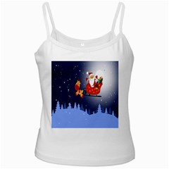 Deer Santa Claus Flying Trees Moon Night Merry Christmas White Spaghetti Tank by Alisyart