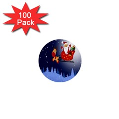 Deer Santa Claus Flying Trees Moon Night Merry Christmas 1  Mini Buttons (100 Pack)
