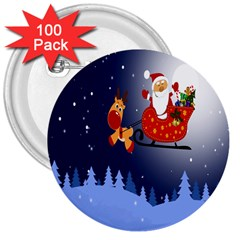 Deer Santa Claus Flying Trees Moon Night Merry Christmas 3  Buttons (100 Pack)  by Alisyart