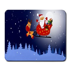 Deer Santa Claus Flying Trees Moon Night Merry Christmas Large Mousepads by Alisyart