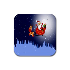 Deer Santa Claus Flying Trees Moon Night Merry Christmas Rubber Square Coaster (4 Pack)  by Alisyart
