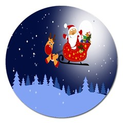 Deer Santa Claus Flying Trees Moon Night Merry Christmas Magnet 5  (round)