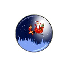 Deer Santa Claus Flying Trees Moon Night Merry Christmas Hat Clip Ball Marker (10 Pack) by Alisyart