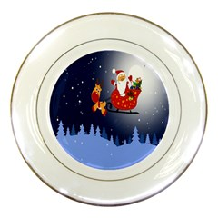 Deer Santa Claus Flying Trees Moon Night Merry Christmas Porcelain Plates