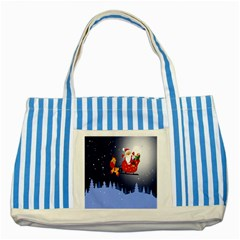 Deer Santa Claus Flying Trees Moon Night Merry Christmas Striped Blue Tote Bag by Alisyart