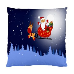Deer Santa Claus Flying Trees Moon Night Merry Christmas Standard Cushion Case (two Sides) by Alisyart