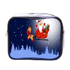 Deer Santa Claus Flying Trees Moon Night Merry Christmas Mini Toiletries Bags