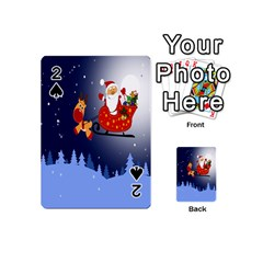 Deer Santa Claus Flying Trees Moon Night Merry Christmas Playing Cards 54 (mini)