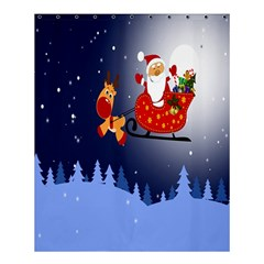 Deer Santa Claus Flying Trees Moon Night Merry Christmas Shower Curtain 60  X 72  (medium)