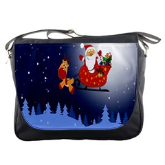 Deer Santa Claus Flying Trees Moon Night Merry Christmas Messenger Bags