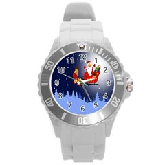 Deer Santa Claus Flying Trees Moon Night Merry Christmas Round Plastic Sport Watch (l) by Alisyart