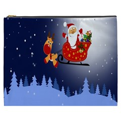 Deer Santa Claus Flying Trees Moon Night Merry Christmas Cosmetic Bag (xxxl)
