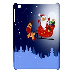 Deer Santa Claus Flying Trees Moon Night Merry Christmas Apple Ipad Mini Hardshell Case