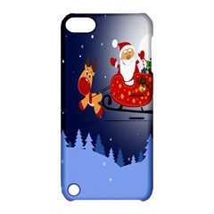 Deer Santa Claus Flying Trees Moon Night Merry Christmas Apple Ipod Touch 5 Hardshell Case With Stand by Alisyart