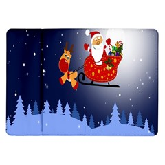 Deer Santa Claus Flying Trees Moon Night Merry Christmas Samsung Galaxy Tab 10 1  P7500 Flip Case