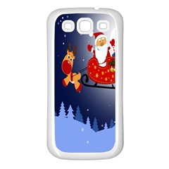 Deer Santa Claus Flying Trees Moon Night Merry Christmas Samsung Galaxy S3 Back Case (white)