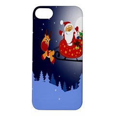 Deer Santa Claus Flying Trees Moon Night Merry Christmas Apple Iphone 5s/ Se Hardshell Case by Alisyart