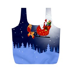 Deer Santa Claus Flying Trees Moon Night Merry Christmas Full Print Recycle Bags (m)  by Alisyart