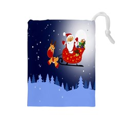 Deer Santa Claus Flying Trees Moon Night Merry Christmas Drawstring Pouches (large)  by Alisyart