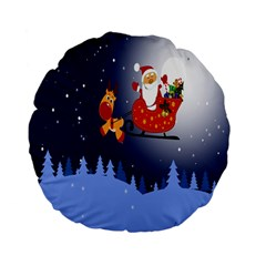Deer Santa Claus Flying Trees Moon Night Merry Christmas Standard 15  Premium Flano Round Cushions by Alisyart