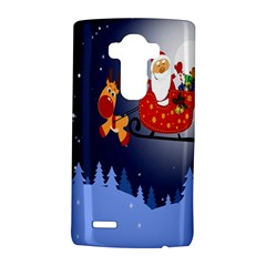 Deer Santa Claus Flying Trees Moon Night Merry Christmas Lg G4 Hardshell Case