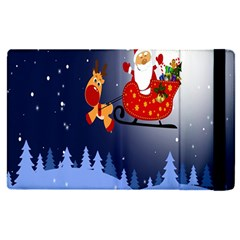 Deer Santa Claus Flying Trees Moon Night Merry Christmas Apple Ipad Pro 12 9   Flip Case by Alisyart