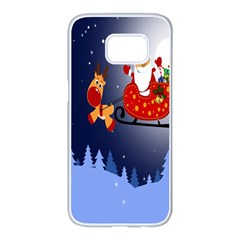Deer Santa Claus Flying Trees Moon Night Merry Christmas Samsung Galaxy S7 Edge White Seamless Case by Alisyart