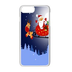 Deer Santa Claus Flying Trees Moon Night Merry Christmas Apple Iphone 7 Plus Seamless Case (white) by Alisyart