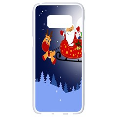 Deer Santa Claus Flying Trees Moon Night Merry Christmas Samsung Galaxy S8 White Seamless Case by Alisyart