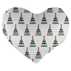 Christmas Tree Green Star Red Large 19  Premium Flano Heart Shape Cushions by Alisyart