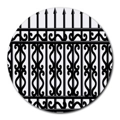 Inspirative Iron Gate Fence Grey Black Round Mousepads