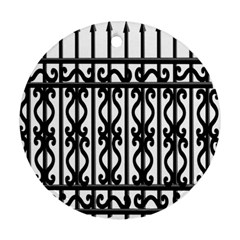 Inspirative Iron Gate Fence Grey Black Ornament (round) by Alisyart
