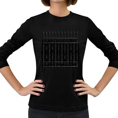 Inspirative Iron Gate Fence Grey Black Women s Long Sleeve Dark T Shirts