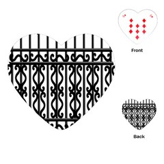 Inspirative Iron Gate Fence Grey Black Playing Cards (heart)