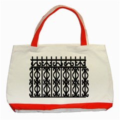 Inspirative Iron Gate Fence Grey Black Classic Tote Bag (red) by Alisyart