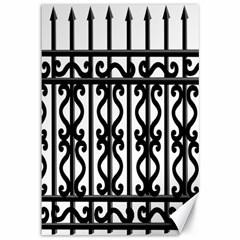 Inspirative Iron Gate Fence Grey Black Canvas 12  X 18