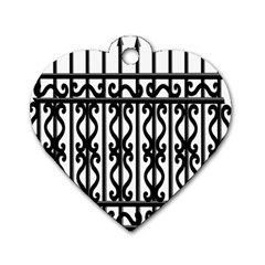 Inspirative Iron Gate Fence Grey Black Dog Tag Heart (two Sides) by Alisyart