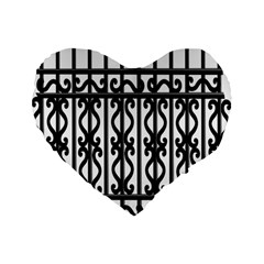 Inspirative Iron Gate Fence Grey Black Standard 16  Premium Flano Heart Shape Cushions by Alisyart