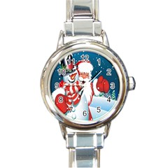 Hello Merry Christmas Santa Claus Snow Blue Sky Round Italian Charm Watch by Alisyart
