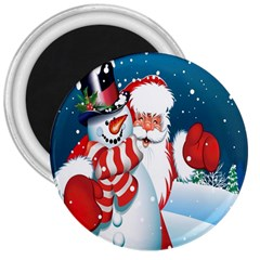 Hello Merry Christmas Santa Claus Snow Blue Sky 3  Magnets