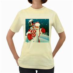 Hello Merry Christmas Santa Claus Snow Blue Sky Women s Yellow T Shirt