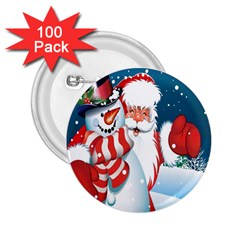 Hello Merry Christmas Santa Claus Snow Blue Sky 2 25  Buttons (100 Pack)  by Alisyart