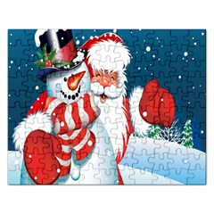 Hello Merry Christmas Santa Claus Snow Blue Sky Rectangular Jigsaw Puzzl by Alisyart