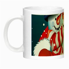 Hello Merry Christmas Santa Claus Snow Blue Sky Night Luminous Mugs