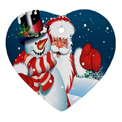 Hello Merry Christmas Santa Claus Snow Blue Sky Heart Ornament (two Sides)