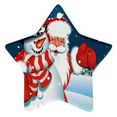 Hello Merry Christmas Santa Claus Snow Blue Sky Star Ornament (two Sides) by Alisyart