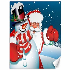 Hello Merry Christmas Santa Claus Snow Blue Sky Canvas 36  X 48